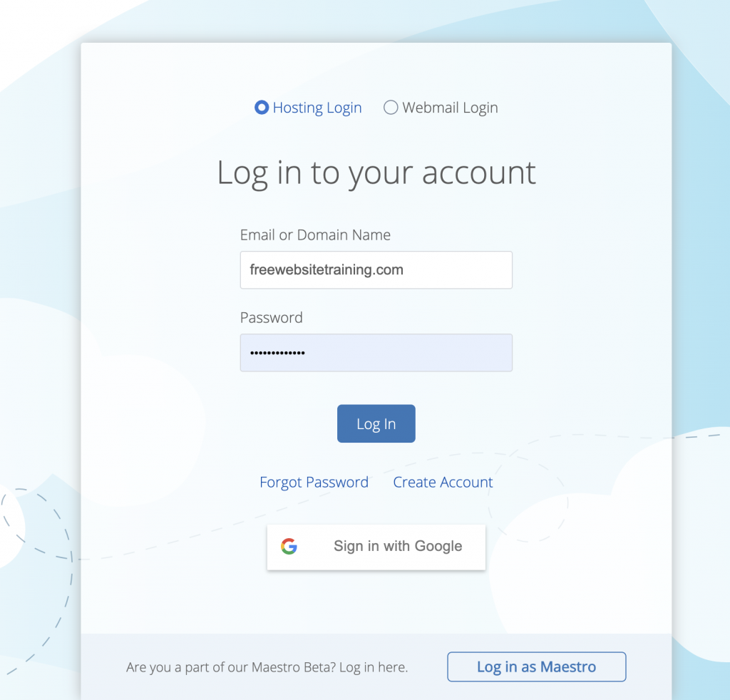 Bluehost Login Screen
